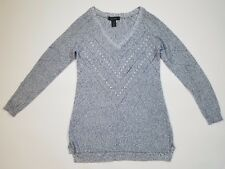 White House Black Market Womens Blue White Silver Metallic Sweater XS