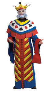 Playing Card King Adult Mens Costume Robe Crown Halloween