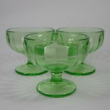 Federal Depression Glass Green HOSTESS Sherbet Glasses 3 Optic Ice Cream Dishes