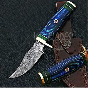 Handmade Forged Damascus Steel Hunting Knife Blue Wood Handle Leather Sheath