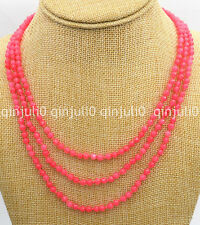 """Rare 3 Rows 4mm  Faceted pink ruby round gemstone beads necklace 17-19"""" JN2241"""
