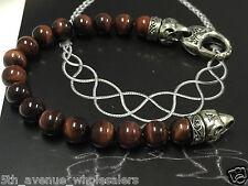 "New Stephen Webster Tigers-Eye Coral Beaded Bracelet 9"" long"
