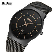 BIDEN Men Business Quartz Wrist Watch Mesh Stainless Steel Band Luxury Gifts