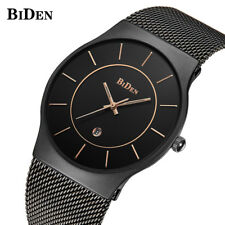 BIDEN Men Business Quartz Wrist Watch Mesh Stainless Steel Band Luxury Gifts
