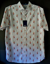 X LARGE / CROWN & IVY Cotton Men FIESTA DANCING LADY White S/S Shirt NEW W/ TAGS