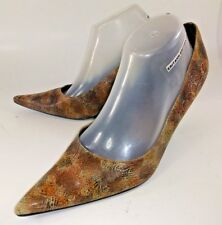 Moda Spana Womens Heels Pumps US 10 M Brown Paisley Suede Slip-on Pointy 5020