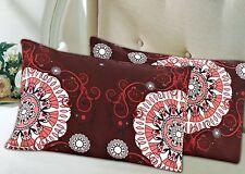 Tache 2pc Burgundy Brown Pattern Palace Fancy Standard Queen Size Pillowcase Set