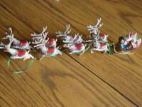 Hallmark Keepsake Christmas - SANTA and his REINDEER 1992 Set of 5 - No Boxes