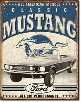 1967 Mustang GT Tin Sign Man Cave Garage Den Mopar Chevy Blue Oval Bow Tie