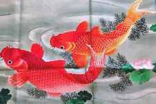 Handwoven Silk Chinese Embroidery - 9 koi fishes (200 cm x 91 cm) #1