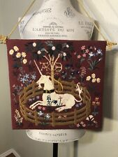 'Unicorn in Captivity' Tapestry Cross-stitch Handmade Embroidery Wall Hanging