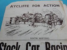 STOCK CAR RACING Aycliffe 1970 s endommagé programme rare