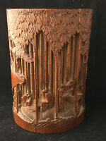 Antique chinese Pot Pinceaux sculpté Bambou Ancien Chinois Bamboo China