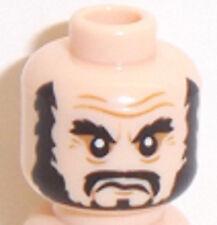 Lego Light Flesh Minifig Head x 1 Beard Black, Bushy Eyebrows, Moustache Pattern
