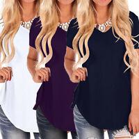 Women's Fashion Solid Short Sleeve V-Neck Irregular Hem Loose Tee T-Shirt Tops