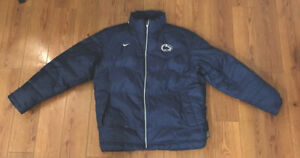 Vintage 2000s Nike Penn State PSU Puffer Jacket Blue and White Mens Large