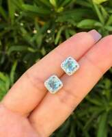 1.50Ct Princess Cut Aquamarine 14K White Gold Finish Halo Diamond Stud Earrings