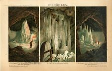 1895 ICE CAVES Antique Chromolithograph Print