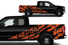 Vinyl Decal Graphics F-150 SHREDS Wrap for 2015-17 F-150 ORANGE Supercab 6.5 Bed
