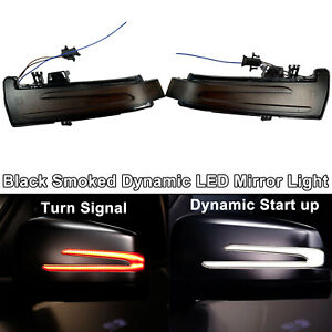 LED Amber White Sequential Smoked Side Mirror Signal Light For 10-13 W221 S550