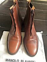 "Manolo Blahnik ""DORY"" Women'Paddock Calf Pony Equestrian Boots sz 37 Brand New!!"