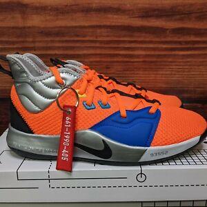 """Nike PG 3 GS """"NASA"""" Boys Kids 5.5Y, Women's 7 Orange Silver shoes (CI8973-800)"""