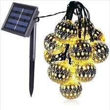 LED Moroccan Solar Garden String Lights Hanging Lantern Fairy Lights Outdoor