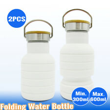 2x Collapsible Silicone Folded Hiking Water Bottle Outdoor Office Camping Kettle