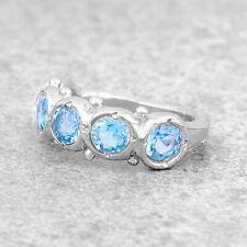 Silver Aquamarine Ring For Women Dainty Silver Cocktail Ring Minimalist Art Deco