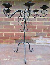 Retro style black wrought iron free standing candlebra