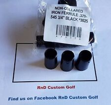 "Non Collared Golf Iron Ferrules .370-.545 3/4"" Black 1 Dozen"