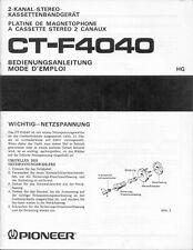 Manuale d'uso per registratore a cassette Pioneer CT-F4040 in tedesco e francese