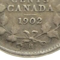 1902 Small H Canada Five Cent Small Canadian Circulated Edward VII Coin M642