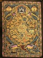 Rare Large Genuine MasterPiece Tibetan wheel of life thangka Painting Buddha
