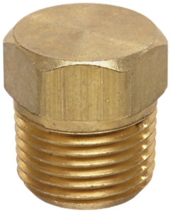 """Anderson Metals 56121 Brass Pipe Fitting, Cored Hex Head Plug, 3/8"""" NPT Male Pip"""