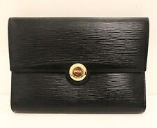 Louis Vuitton Black Epi Leather Clutch Handbag w/ LV engraved Gold Lock (MINT)
