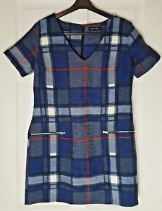 New Look Women's Blue/Grey Check Tunic Dress Top Size 12