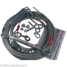 Freedom Aerial Dog Run 100 FT Overhead Cable Shock Absorbing Spring FADR-100SA