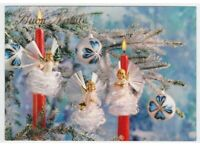 Christmas Photo Card Tableware Decorations Vintage Candles Angels Non Viaggiata