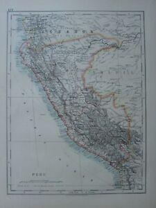 1913 MAP SOUTH AMERICA PERU