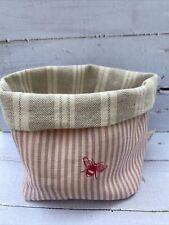 Peony And Sage Bees  / Ian Mankin Stripe Fabric Storage Basket