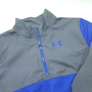 Youth 2 pc UNDER ARMOUR Tracksuit Warm Up Jacket (M) & Pants (S) - Blue & Gray