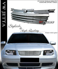 FOR 1999-2005 VW JETTA MK4 CHROME HORIZONTAL BADGELESS FRONT BUMPER GRILL GRILLE