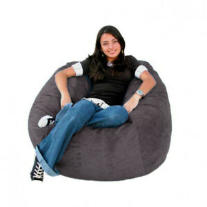 """1 PC 48""""x48""""x27"""" Grey Velvet Bean Bag Cover Fully Washable ( Without Beans )"""
