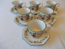 FRESH FRUIT JOHNSON BROTHERS  SET OF SIX CUPS AND SAUCERS