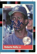 ROBERTO KELLY NEW YORK YANKEES SIGNED AUTOGRAPHED 1988 DONRUSS CARD #635 W/COA