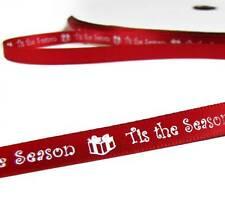 "Sale ! - 10 Yards Christmas Tis the Season Red Satin Ribbon 3/8""W"