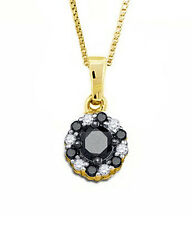 Black Diamond Pendant 10K Yellow Gold Black & White Diamond Round Pendant .51ct