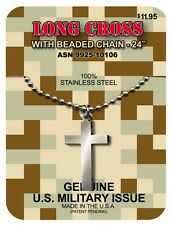 GI JEWELRY, Official U.S. Military, LONG CROSS Necklace Non-Reactive Steel