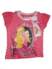 Barbie T-Shirt für Mädchen gepunktet im Bilderrahmen Shirt mit Hund NEU 86-128